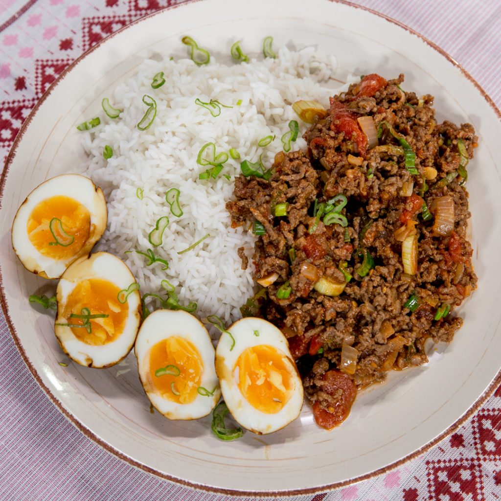 Ground Beef, Rice and Eggs